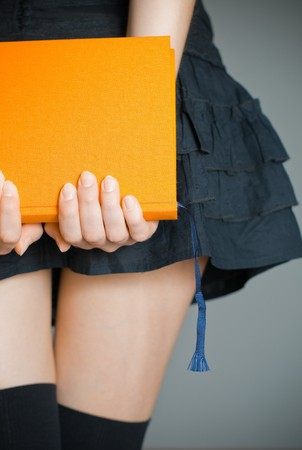 view of the lower body part of woman wearing skirt and stockings holding book in her hands Stock Photo - 7348205