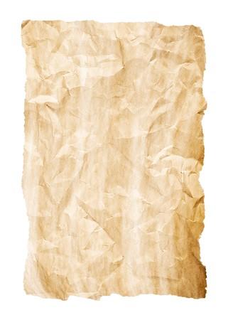 feuille froiss�e: froiss� feuille jaune vieux riches d�tails et bords d�chir�s sur fond blanc