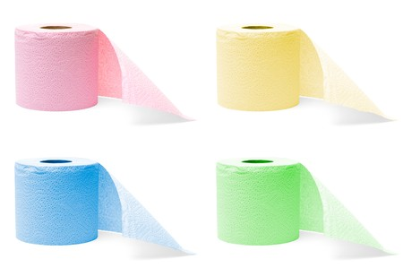 megapixel: four colorful rolls of toilet paper isolated on white background (8 megapixel each) Stock Photo