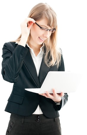 young business woman in glasses with white laptop computer isolated on white background photo
