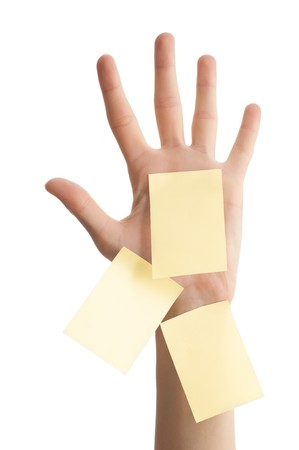 female hand with three sticky office notes isolated on white background . Notes are blank and yellow photo