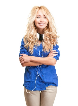 Beautiful and happy teenage girl with headphones.  photo