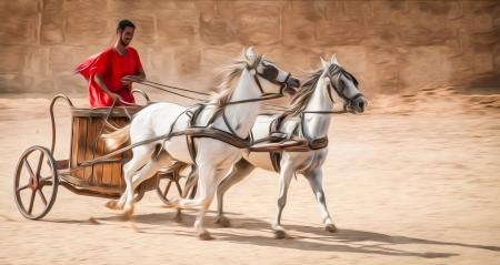 roman: Hombre en carro llevaba túnica roja, caballos blancos.
