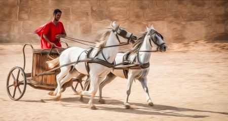 roman: Man in chariot wearing red robe, white horses. Stock Photo