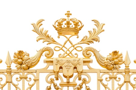chateau: Golden ornate gate of Chateau de Versailles isolated on white background. Paris, France, Europe. Oil paint effect.