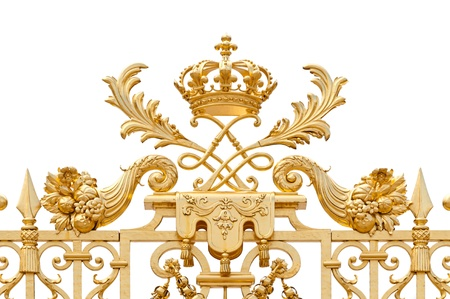artistic flower: Golden ornate gate of Chateau de Versailles isolated on white background. Paris, France, Europe. Stock Photo