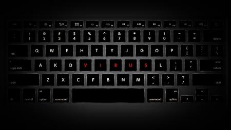 Dark image of computer keyboard with keys rearranged to make up word virus.