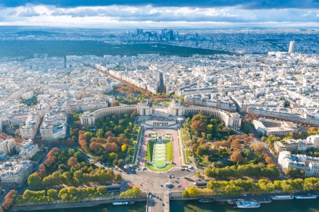 View of river Seine, Trocadero and La Defense from the Eiffel tower. Paris, France, Europe.