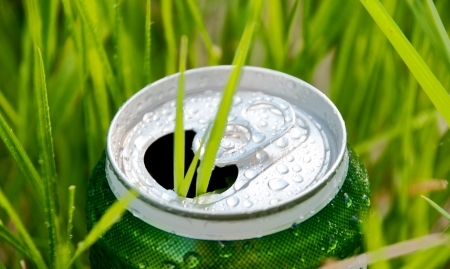 can food: opened green aluminum can (bottle) in green grass. Grass growing through the can