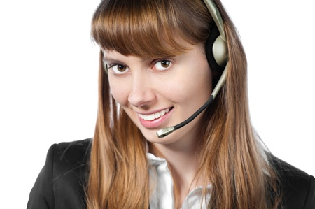beautiful and happy young woman helpdesk operator. Headset on her head. Stock Photo - 14854139