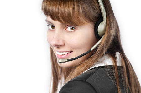 beautiful and happy young woman helpdesk operator. Headset on her head. Stock Photo - 14865040