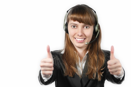 beautiful and happy young woman helpdesk operator. Headset on her head.  Stock Photo - 15183681