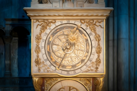 Old beautiful astronomical clock in the Cathedral of St. Jean. Lyon, France, Europe. Oil paint effect. photo