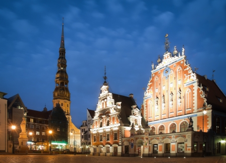 Beautiful old architecture of the central square of Riga.  Stock Photo