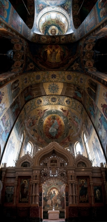 iconostasis: The Church of Our Savior on the Spilled Blood interior panorama of the ceiling. Saint Petersburg, Russia. Editorial