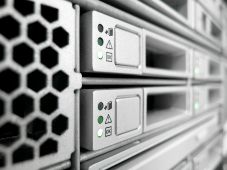 green computing: rack of modern corporate servers in new datacenter
