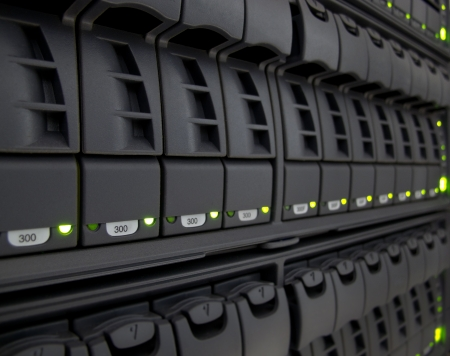 server rack: modern corporate information storage system in new datacenter