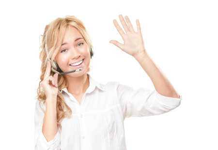 Portrait of customer service and call centre operator woman isolated on white background. Stock Photo - 14821690