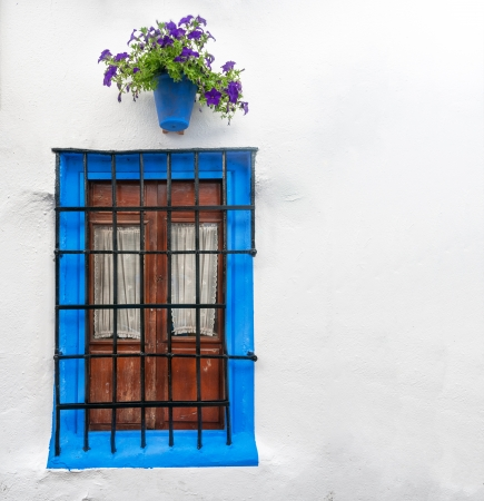 Big wall decorated in old style in Cordoba, Andalucia. Rural design of house in Spain, Europe. Blue framed wooden window with steel bars and white curtains inside. Blooming flower in pot above window. photo