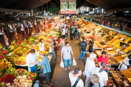 Indoor grocery market in Barcelona, Spain. People walking and buying food. Huge variety of fruits, vegetables and spices. Colourful organic and healthy products. Famous local place in Europe. Stock Photo