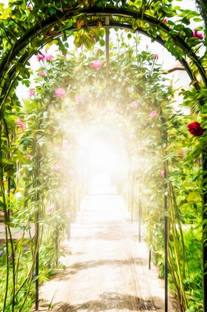 Passage through beautiful garden  Multiple arches and walls decorated with flowers  Pink and red roses with green leaves  Summer day with bright sunshine  Peaceful place for tourism and vacation