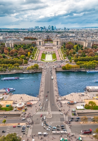 trocadero: View of river Seine, Trocadero and La Defense from the Eiffel tower. Paris, France, Europe.