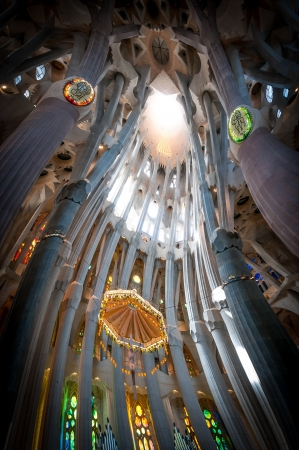 BARCELONA, SPAIN - MAY 14: Sagrada Familia from inside. In process of building since 19 century. Construction budget for 2009 was 18 million euros. May 14, 2012, Barcelona, Spain, Europe.