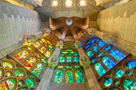 BARCELONA, SPAIN - MAY 14: stained windows of Sagrada Familia. One projection anticipates construction completion around 2026, others say about 2028. May 14, 2012, Barcelona, Spain, Europe.