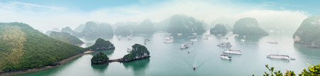 halong: Panorama of Halong Bay in Vietnam with green leaves in foreground. Cliffs and rocks standing out of water with boats floating around. Light fog in distance. Popular travel destination.