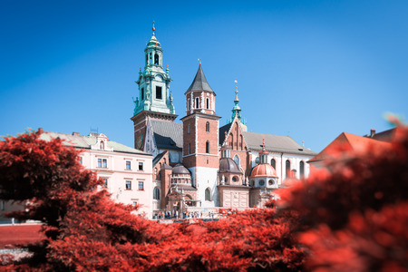 wawel: Beautiful old Wawel Cathedral in Krakow, Poland. Trees with red leaves surround medieval castle. Blue sky on summer day.