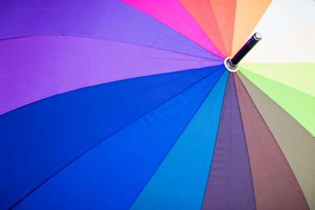 up close: Close up view of multicoloured umbrella.
