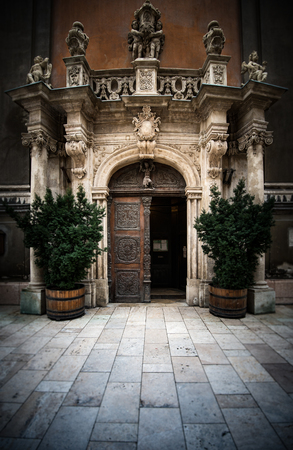 old doors: Entrance to church in Budapest, Europe.  Old architecture.