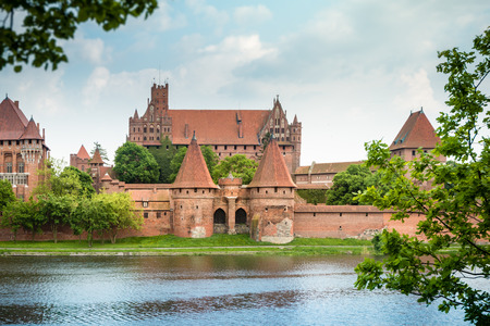 red brick: Teutonic Castle in Malbork (Marienburg) in Pomerania, Poland, Europe.