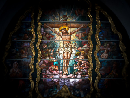 Stained glass window depicting Jesus Christ. Old church in Gdansk, Poland, Europe. Beautiful mosaic with scene from bible. Editorial