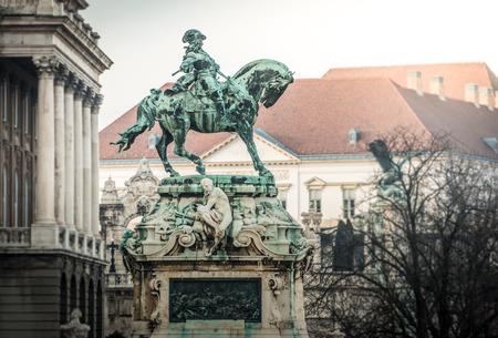europe travel: Eugene of Savoys monument in Buda part of Budapest. Hungary, Europe. Famous travel destination.