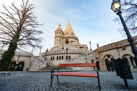 buda: Wide view on tower of fisherman bastion. Buda hill, Budapest, Hungary, Europe travel.