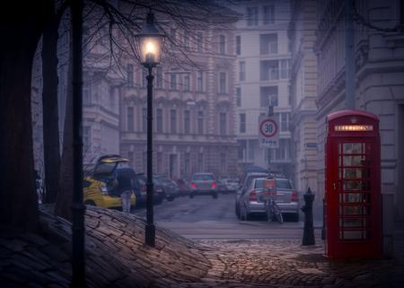 europe travel: Night street scene from Vienna, Austria. Europe travel.