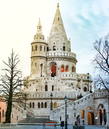 fisherman bastion: View on tower of fisherman bastion. Buda hill, Budapest, Hungary, Europe travel in winter. Stock Photo