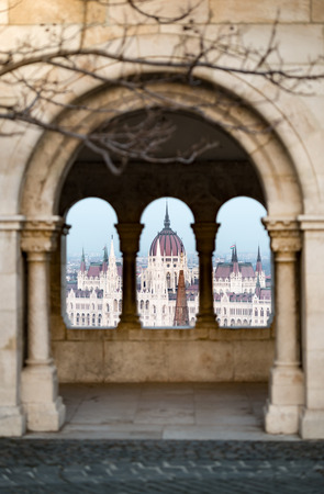 fisherman bastion: View on parliament building from fisherman bastion on Buda hill. Budapest, Hungary, Europe travel.