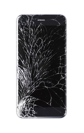 phone isolated: Modern smartphone with broken glass screen isolated on white background. Device needs repair.