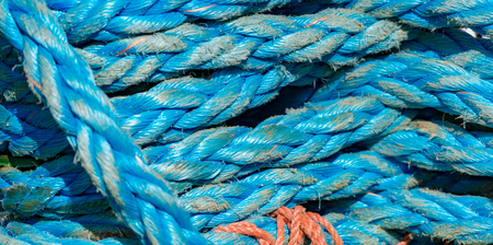 Detail view on ropes on boat in port of Norway, Scandinavia, Europe. 写真素材