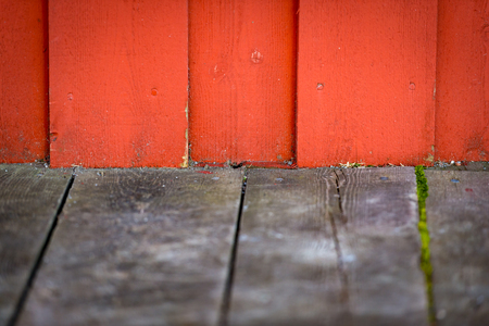 Old building wooden wall with free space for your content. Traditinal color and building material in Norway, Scandinavia, Europe. 写真素材