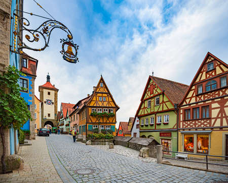 View on old city street with traditional architecture of Rothenburg Ob Der Tauber, Bavaria, Germany, Europe Publikacyjne
