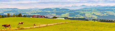 Countryside farm in Bavaria, Germany, Europe. Winding road and cows in foreground, blue cloudy sky and mountains in background. House with solar panels on roof.