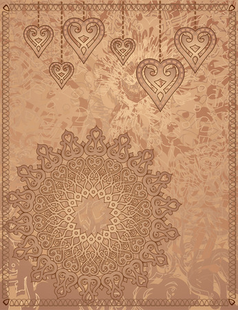 stylishness: Abstract ornamental background of brown colour