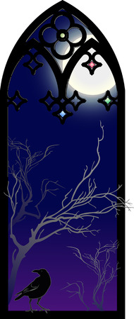 gothic window: Raven in a Gothic window.