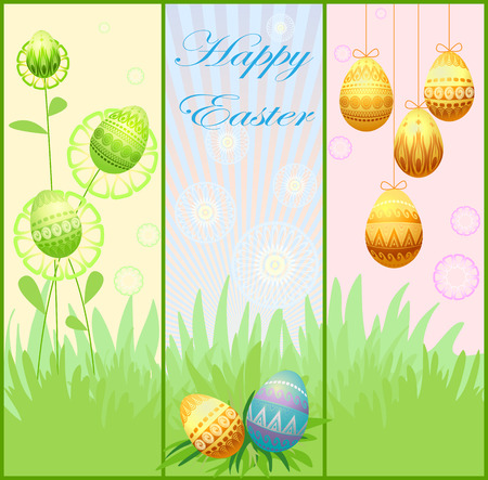 Three different beautiful spring floral banners. Vector