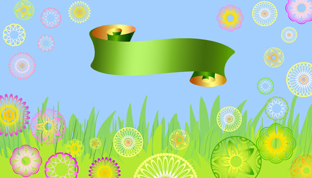 baner: easter card with flowers and baner Illustration