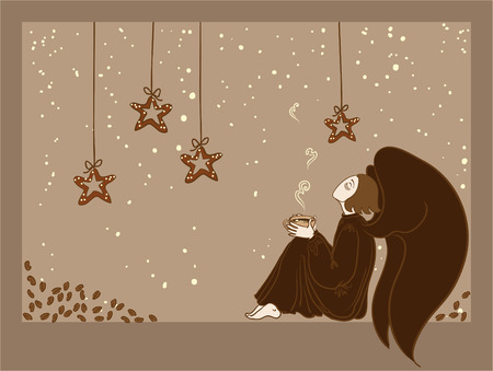 angel alone: Angel with a coffee cup