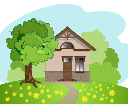 illustration of isolated cartoon house with tree